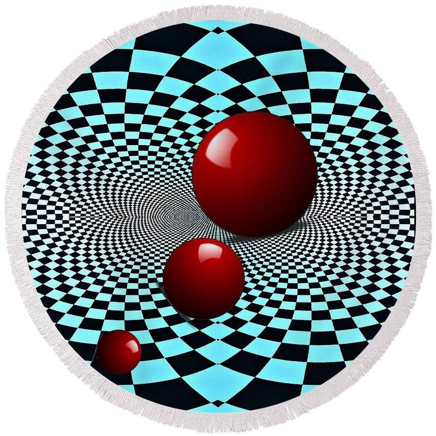 Circle Round Beach Towel featuring the digital art Three Red Balls by Sarah Loft