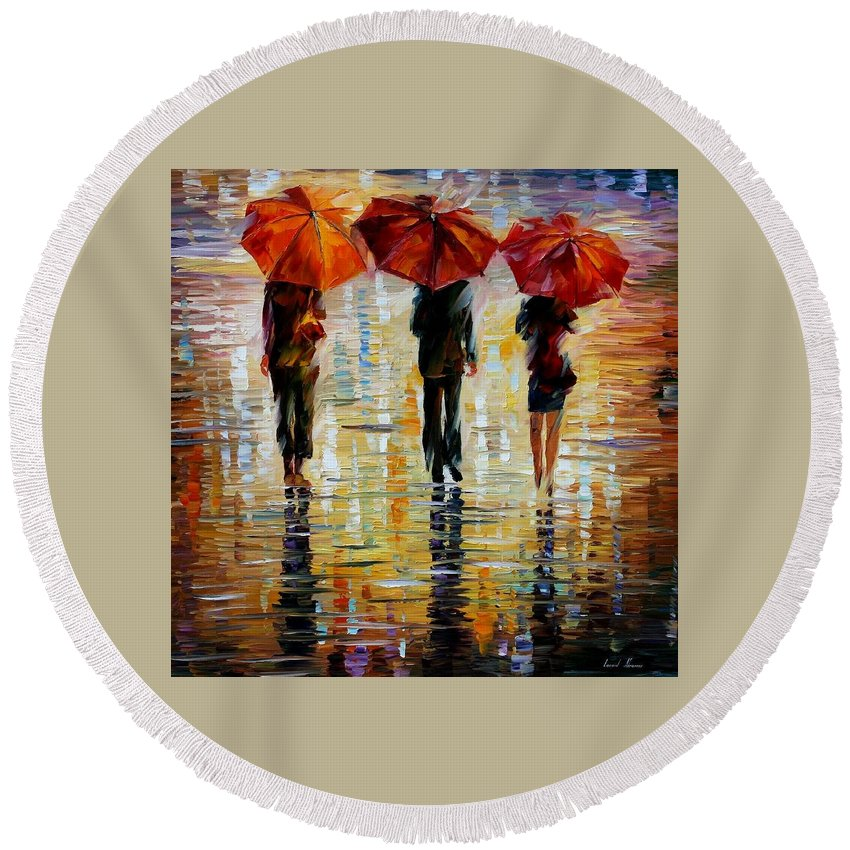 Cityscape Round Beach Towel featuring the painting Three Red Umbrella by Leonid Afremov