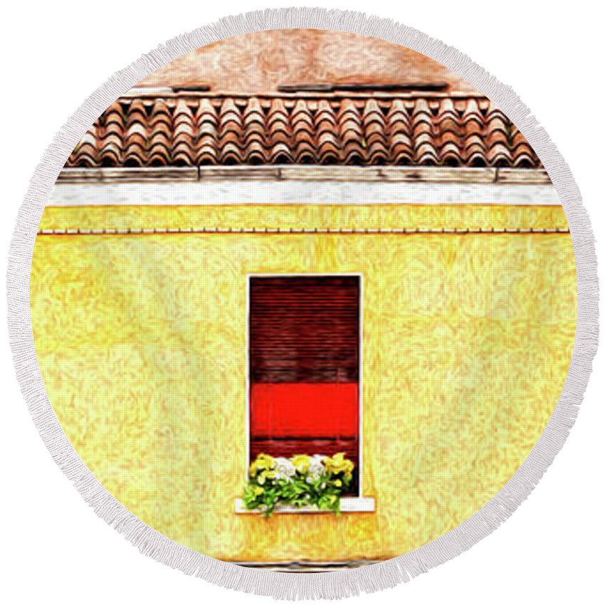 Red Round Beach Towel featuring the painting Three Red Windows With Flowers Of A Typically Italian House. by Antonio Gravante