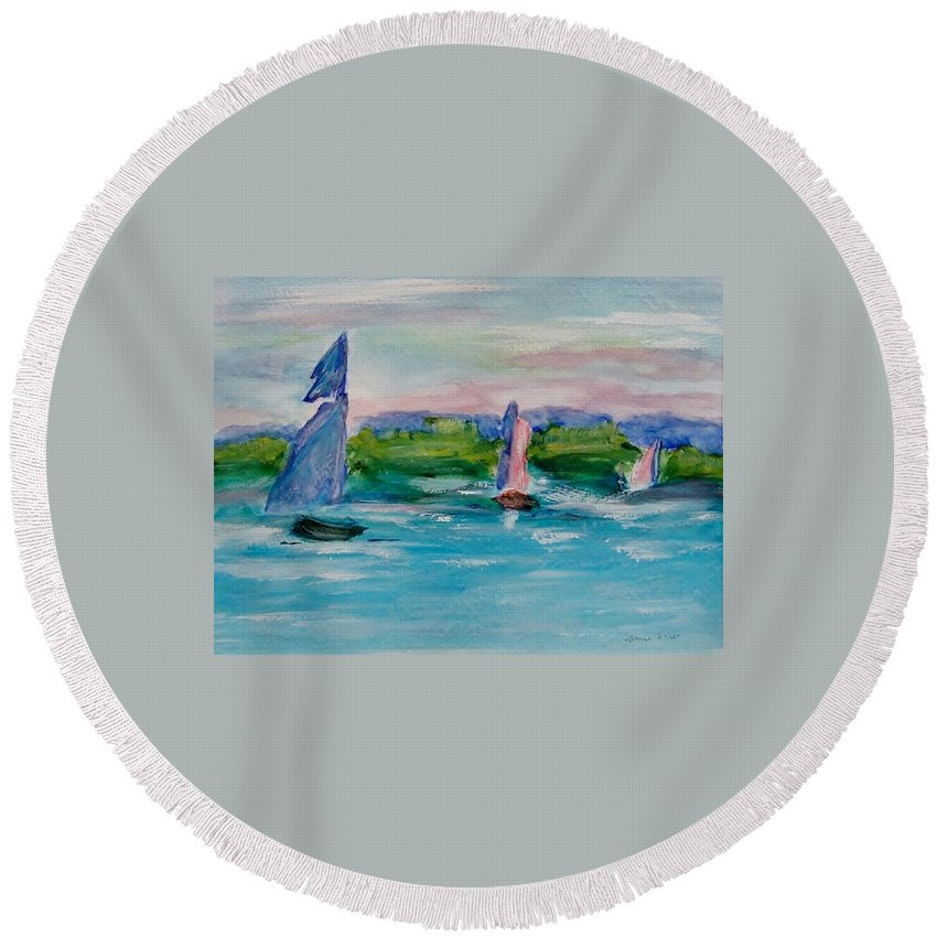 Sailboat Round Beach Towel featuring the painting Three Sailboats by Jamie Frier