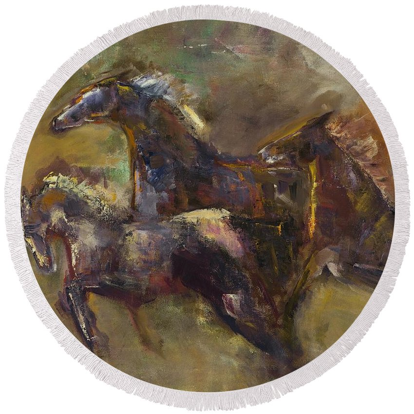 Horses Round Beach Towel featuring the painting Three Set Free by Frances Marino