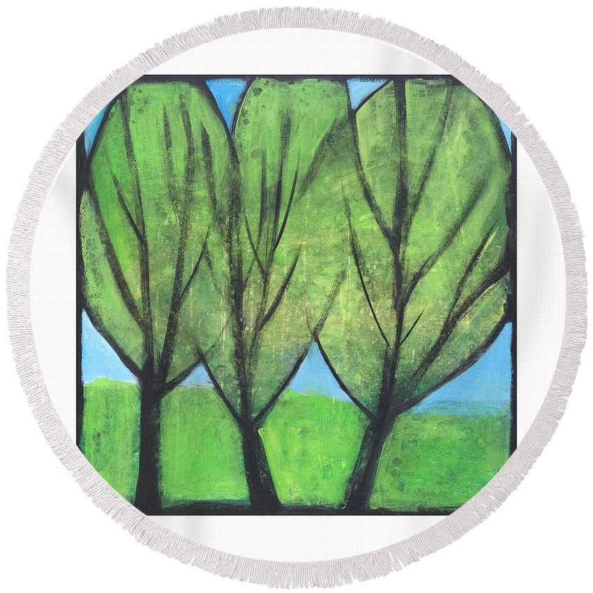 Trees Round Beach Towel featuring the painting Three Sisters by Tim Nyberg