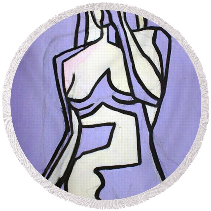 Nudes Round Beach Towel featuring the painting Three by Thomas Valentine
