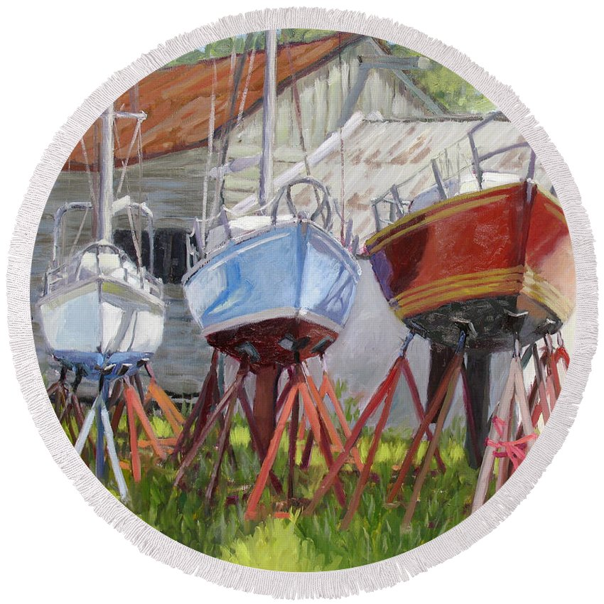 Sail Boats Round Beach Towel featuring the painting Three Up by L Diane Johnson