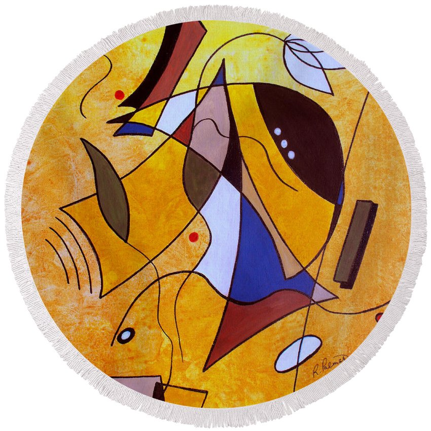 Abstract Round Beach Towel featuring the painting Three White Petals by Ruth Palmer
