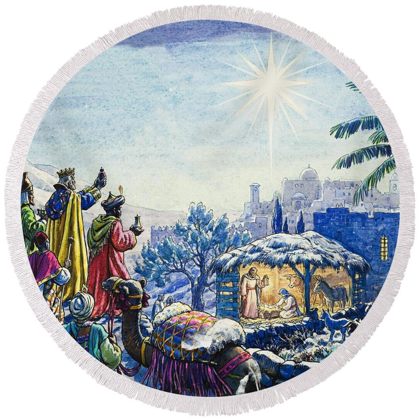 Infant; Baby; Birth; Jesus; Christ; Stable; Gifts; Present; Gold; Frankincense; Myrrh; King; Kings; Wise Men; Holy; Mary; Virgin; Madonna; Joseph; Family; Adoring; Worshipping; Stable; Landscape; Three; Christmas; Epiphany; Nativity; North Star; Infant; Baby; Birth; Jesus; Christ; Stable; Gifts; Present; Gold; Frankincense; Myrrh; King; Kings; Wise Men; Holy; Mary; Virgin; Madonna; Joseph; Family; Adoring; Worshipping; Stable; Landscape; Three; Christmas; Epiphany Round Beach Towel featuring the painting Three Wise Men by Unknown