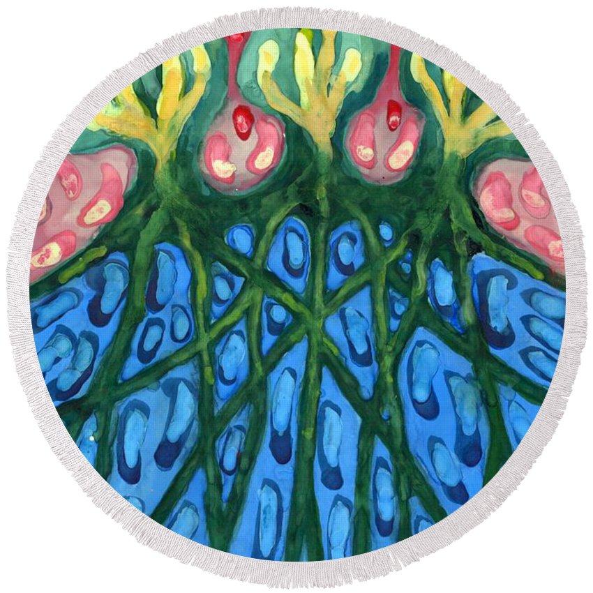 Colour Round Beach Towel featuring the painting Three by Wojtek Kowalski