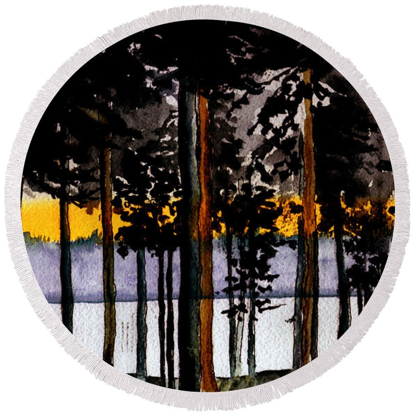 Watercolor Round Beach Towel featuring the painting Through My Woods by Brenda Owen