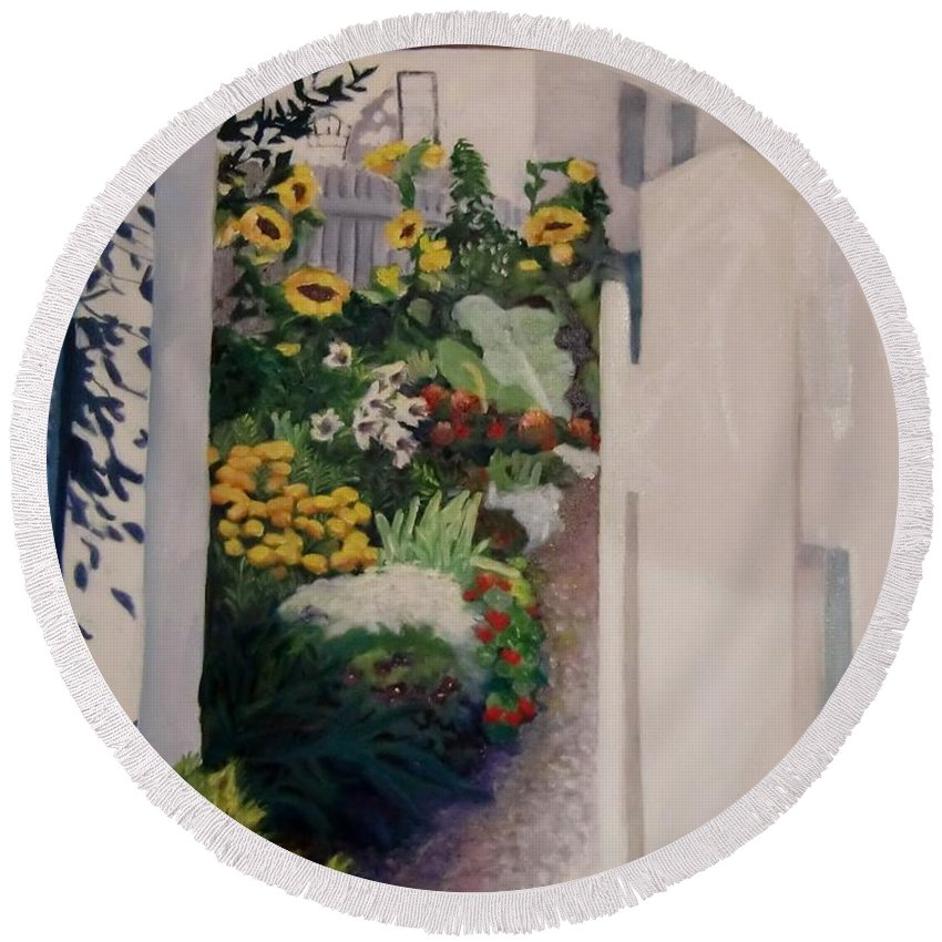 Painting Garden Round Beach Towel featuring the painting Through The Back Gate by Jean Stark