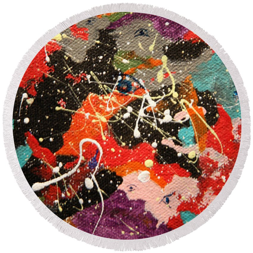 Abstract Round Beach Towel featuring the mixed media Through The Eyes Of The Universe by J R Seymour