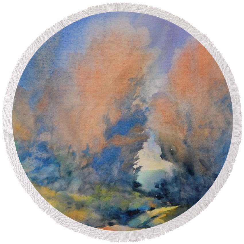 Watercolor Round Beach Towel featuring the painting Through The Hole In The Trees by Virgil Carter