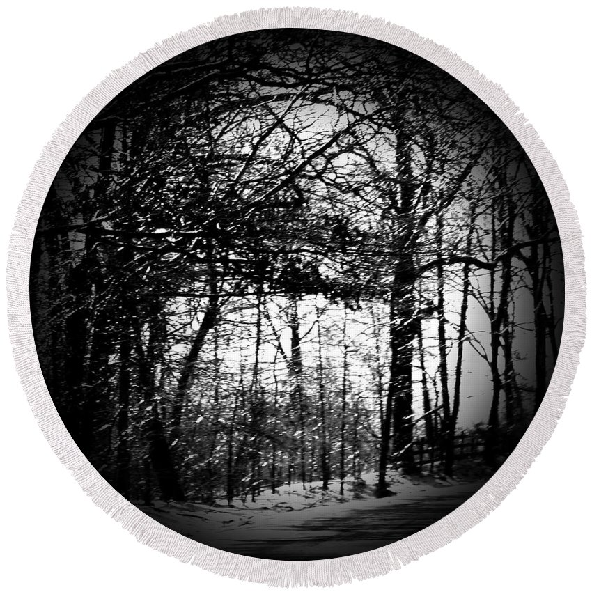 Trees Round Beach Towel featuring the photograph Through the Lens- Black and White by Simply Summery