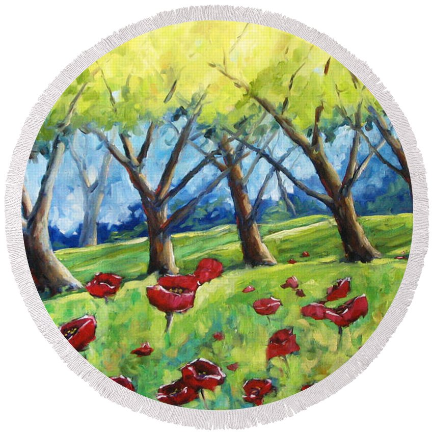 Landscape Round Beach Towel featuring the painting Through The Meadows by Richard T Pranke