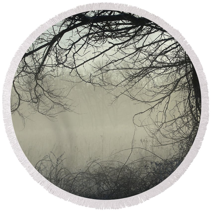 Misty Morning Round Beach Towel featuring the photograph Through The Mist by Elizabeth Winter