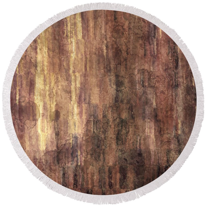 Abstract Painting Round Beach Towel featuring the painting Through The Past by Debbie Smith
