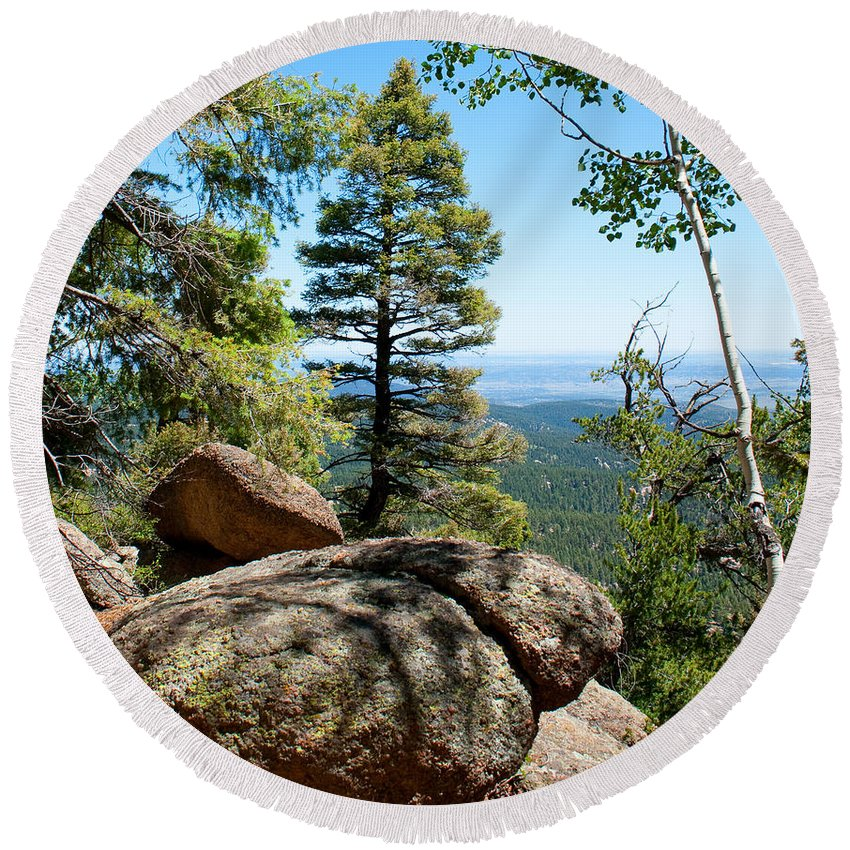Trees Round Beach Towel featuring the photograph Through The Trees by Angus Hooper Iii