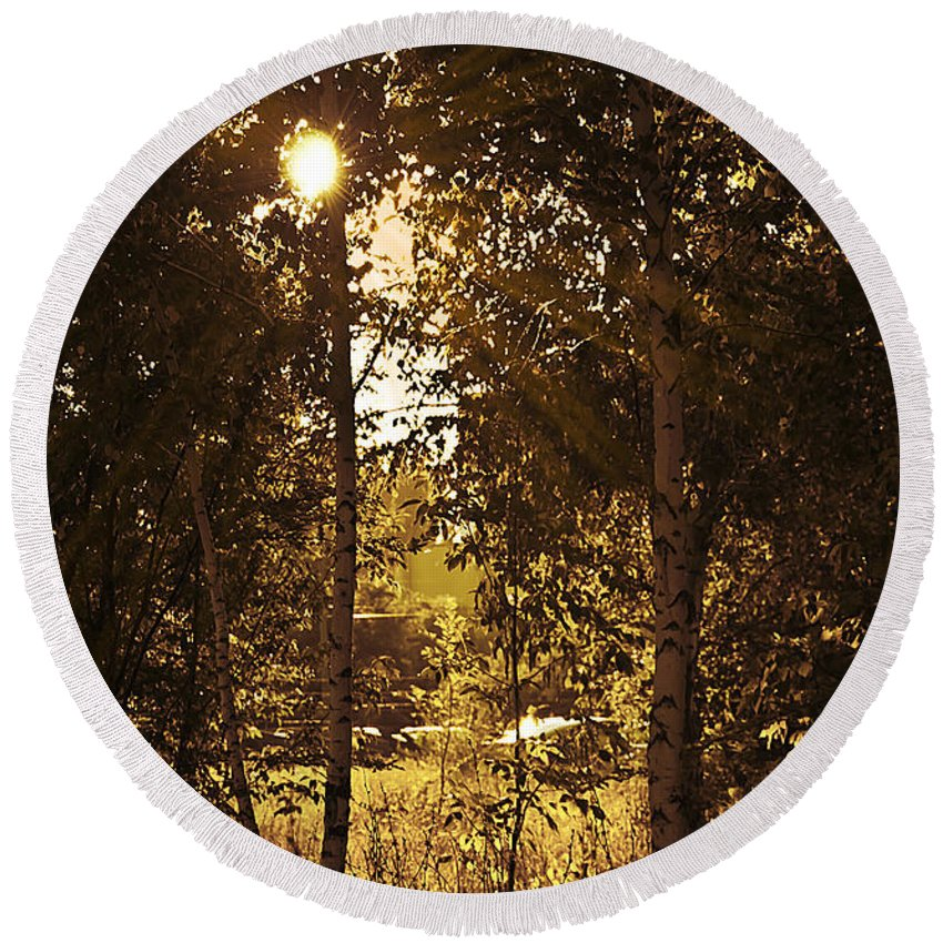 Art Round Beach Towel featuring the photograph Through The Trees by Svetlana Sewell