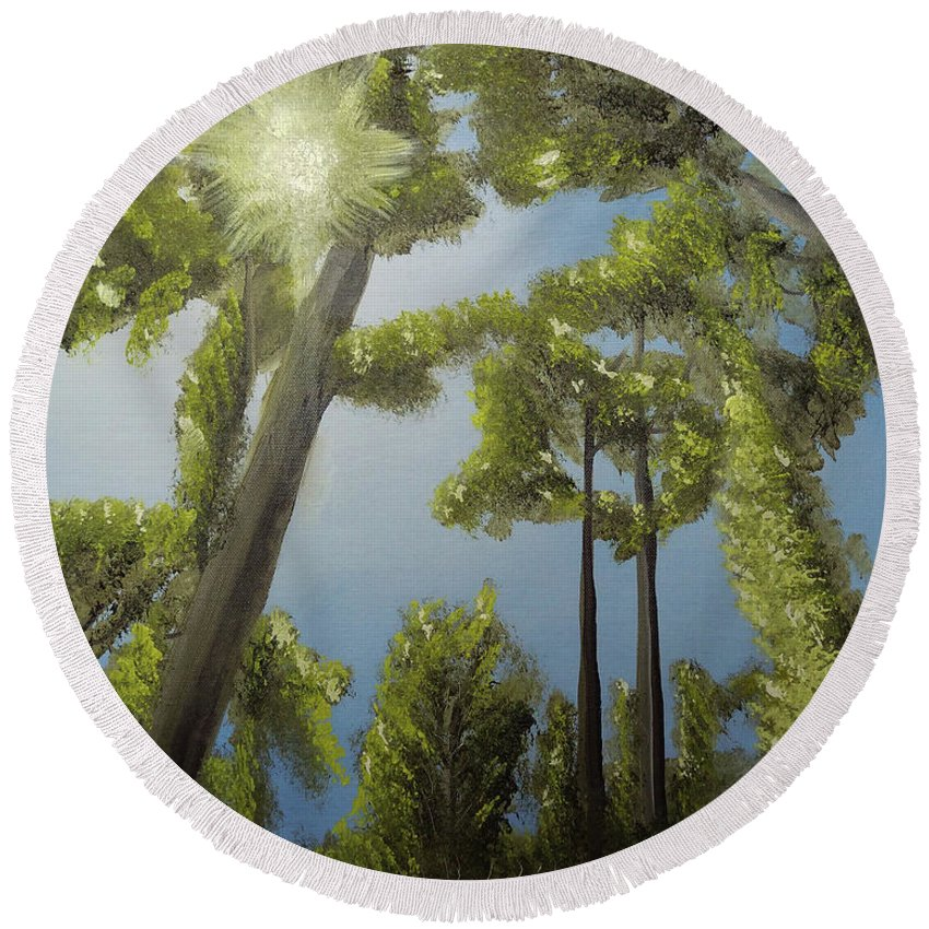 Landscape Round Beach Towel featuring the painting Through The Trees by William B Peairson IV