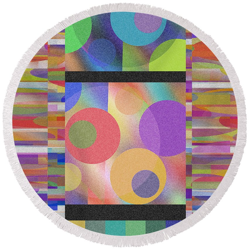 Abstract Round Beach Towel featuring the digital art Through Thick And Thin by Ruth Palmer