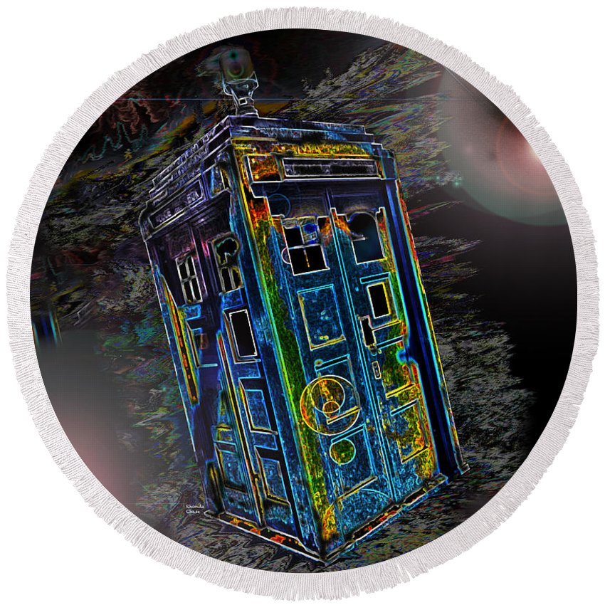 Dr. Who Round Beach Towel featuring the photograph Tardis - Through Time And Space by Rhonda Chase