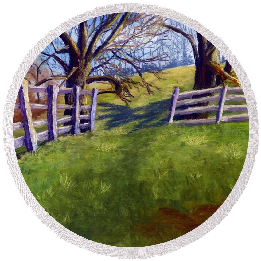 Pasture Round Beach Towel featuring the painting Throught The Pasture Gate by Sharon E Allen