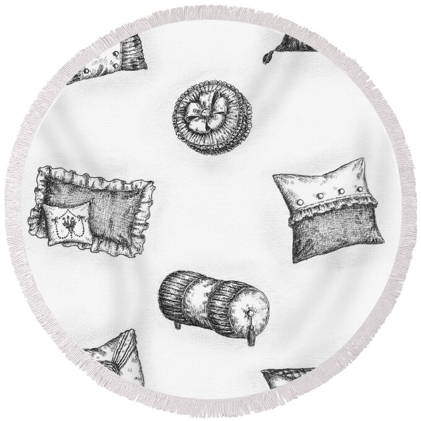 Black Round Beach Towel featuring the drawing Throw Pillows by Adam Zebediah Joseph