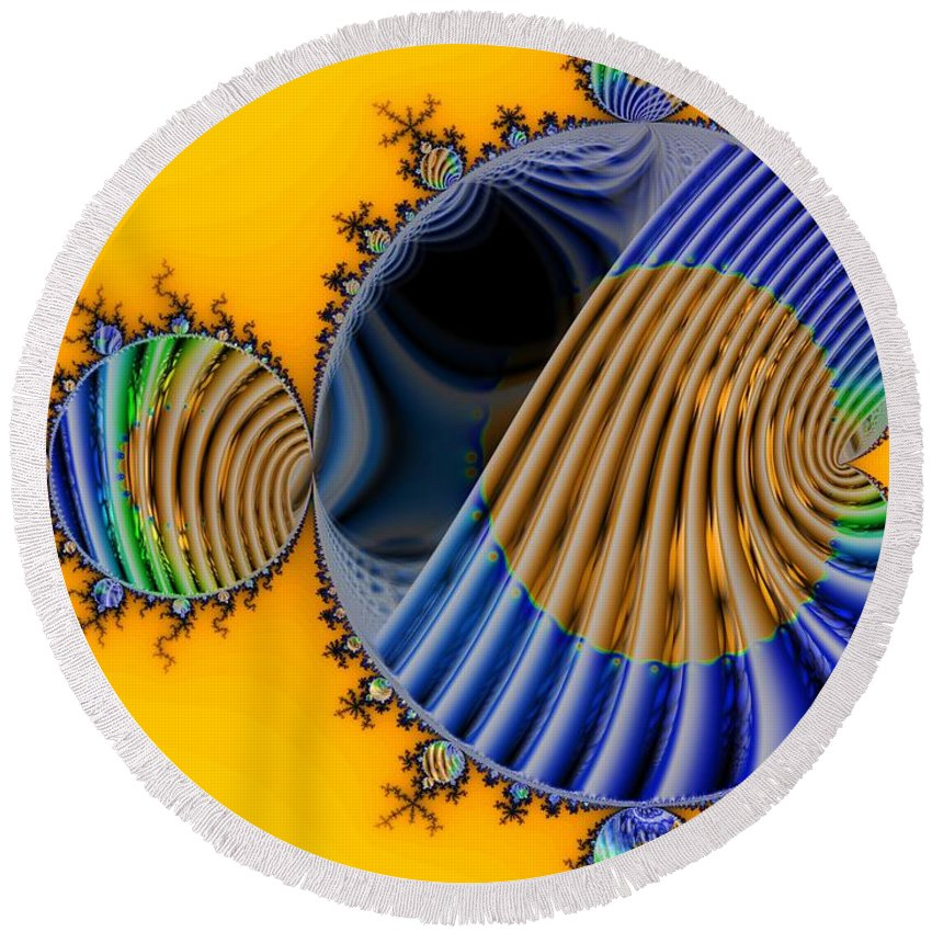 Julia Fractal Round Beach Towel featuring the digital art Thru A Julia Lens by Ron Bissett