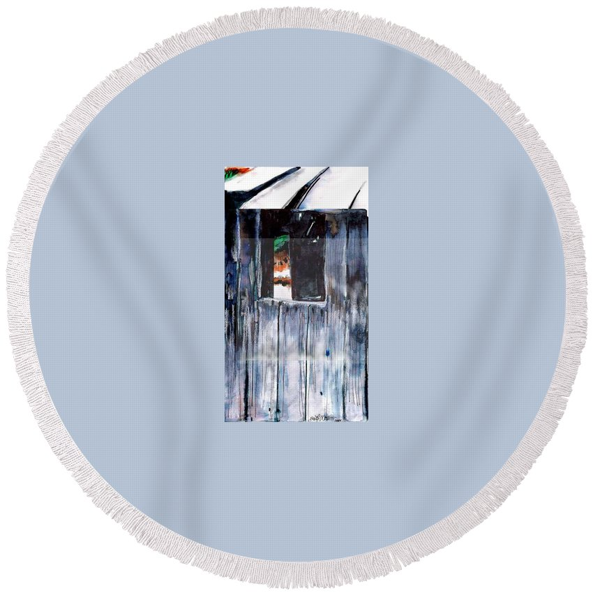 An Old Mysterious Barn With Deep Dark Shadows And Secrets. Rustic And Moody. Round Beach Towel featuring the drawing Thru The Barn Window by Seth Weaver