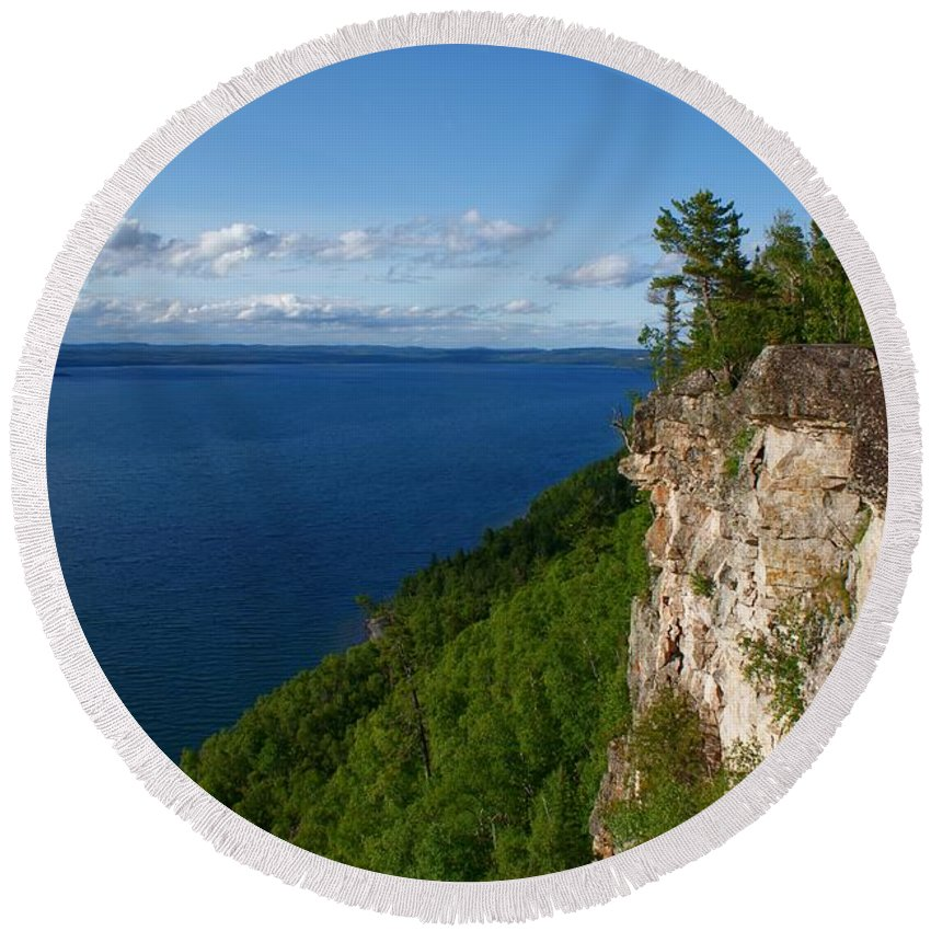 Thunder Bay Lookout Round Beach Towel featuring the photograph Thunder Bay Lookout by Joanne Smoley