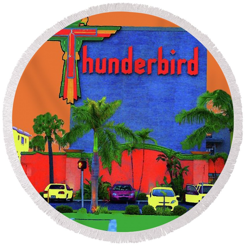 Thunderbird Round Beach Towel featuring the photograph Thunderbird by Jost Houk