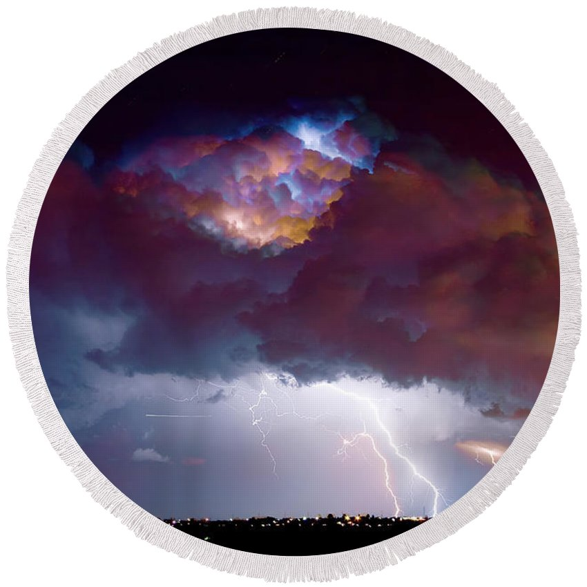 Weather Round Beach Towel featuring the photograph Lightning Thunderstorm Over Dacono by James BO Insogna