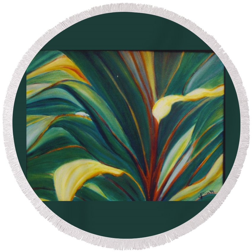 Foliage Round Beach Towel featuring the painting Ti Leaves Too by Dina Holland
