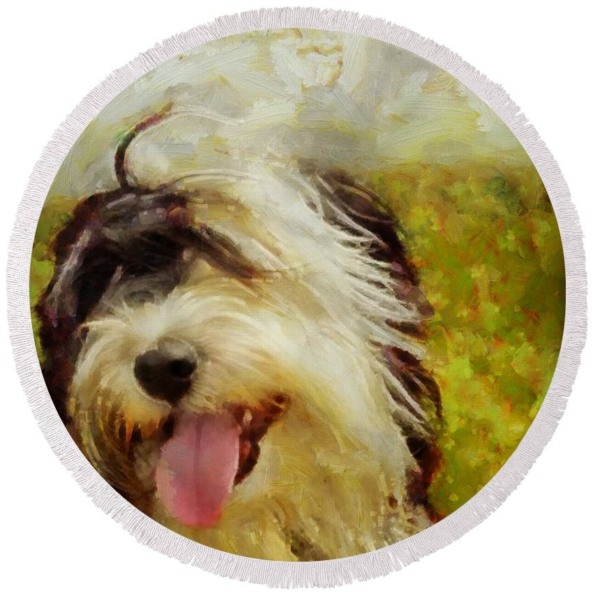 Dogs Round Beach Towel featuring the painting Tibbie by Janice MacLellan