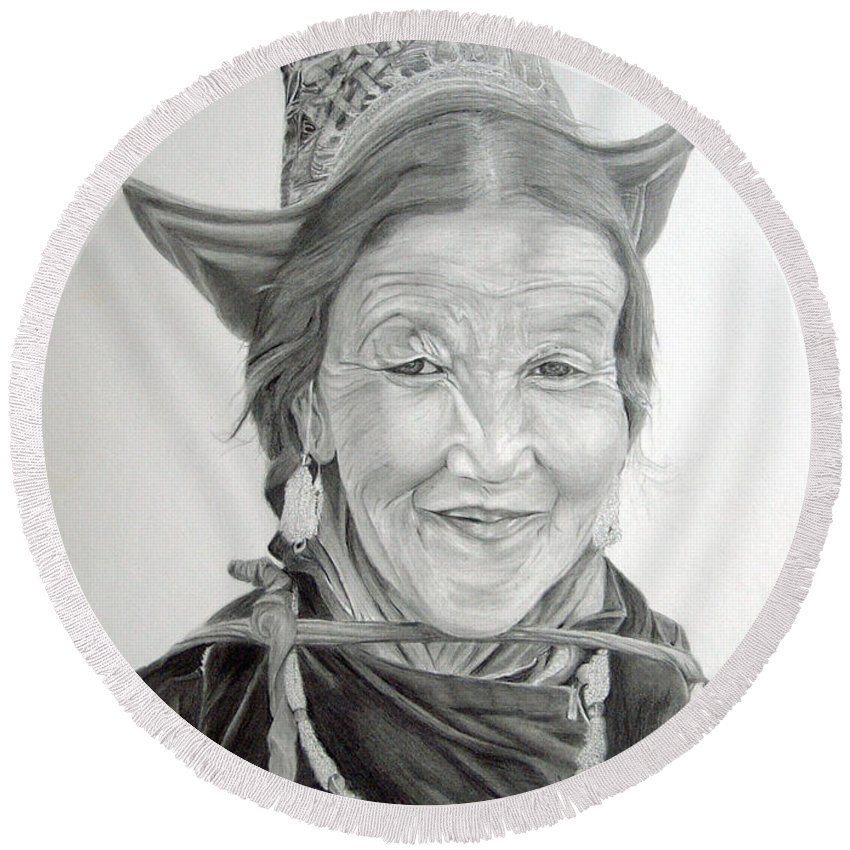 Figurative Art Round Beach Towel featuring the drawing Tibetan Delight by Portraits By NC