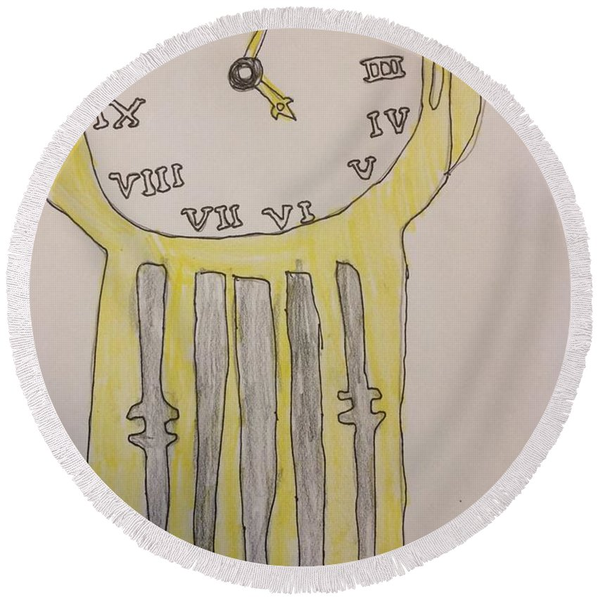 Clock Round Beach Towel featuring the drawing Tick Tock by Jonathan Rispoli