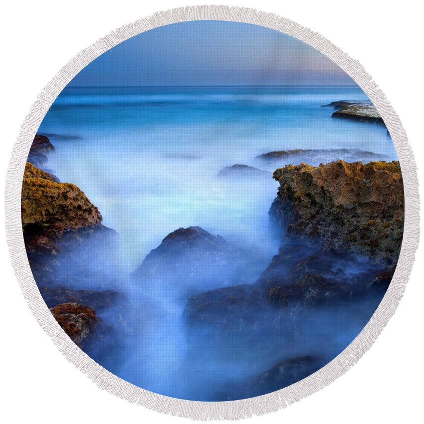 Pennington Bay Round Beach Towel featuring the photograph Tidal Bowl Boil by Mike Dawson