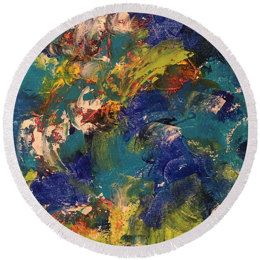 Abstract Round Beach Towel featuring the painting Tidal Wave by Claire Gagnon