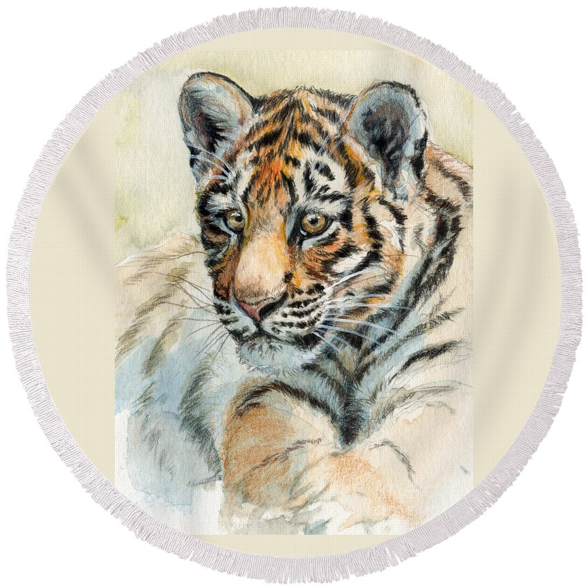 Tiger Round Beach Towel featuring the painting Tiger Cub Portrait 865 by Svetlana Ledneva-Schukina
