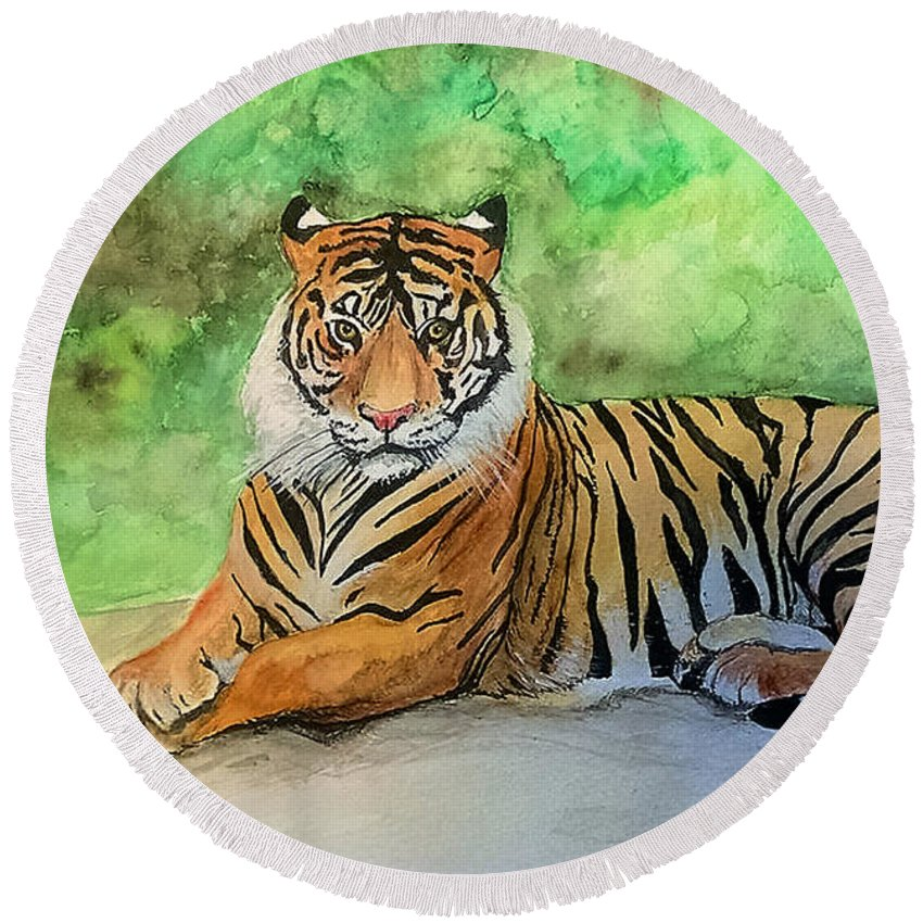 Tiger Round Beach Towel featuring the painting Tiger by Denise Beaulieu