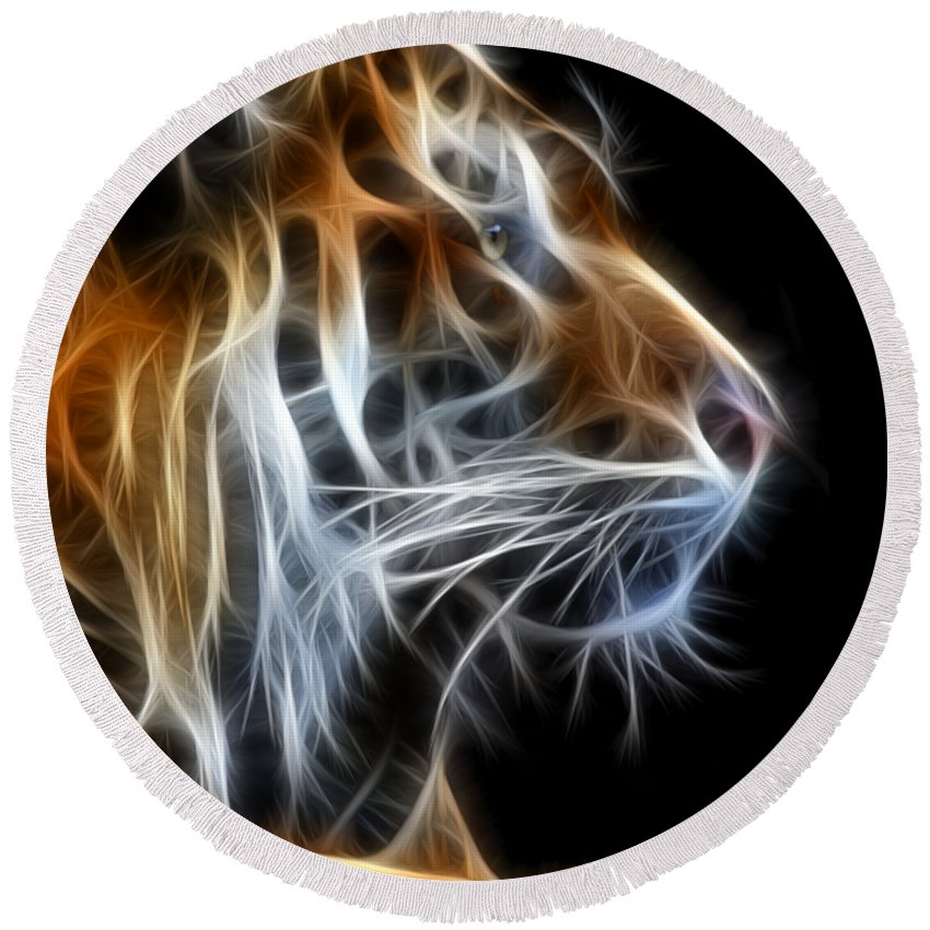 Tiger Round Beach Towel featuring the photograph Tiger Fractal 2 by Shane Bechler