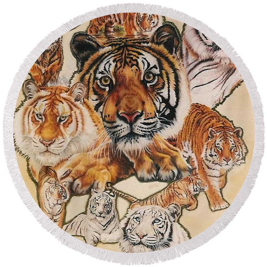 Tiger Round Beach Towel featuring the pastel Tiger Haven by Barbara Keith