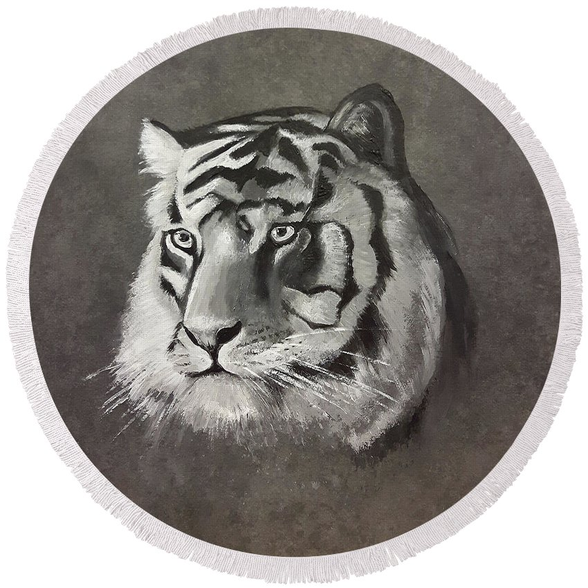 Round Beach Towel featuring the painting Tiger by Helene Fallstrom