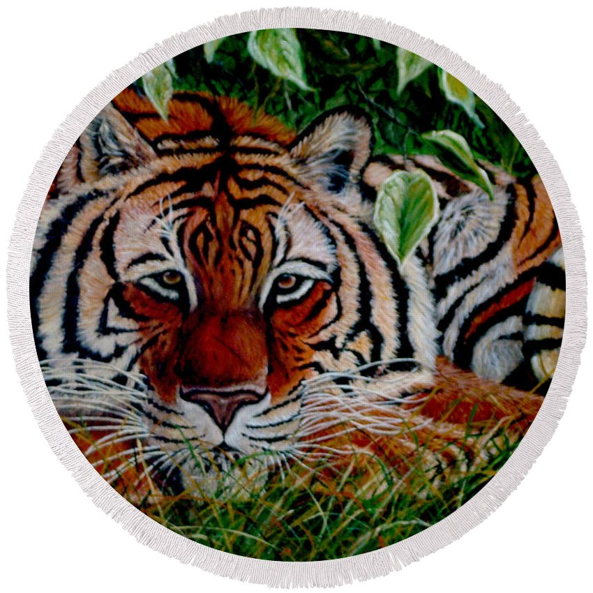 Tiger Round Beach Towel featuring the painting Tiger In Jungle by Nick Gustafson