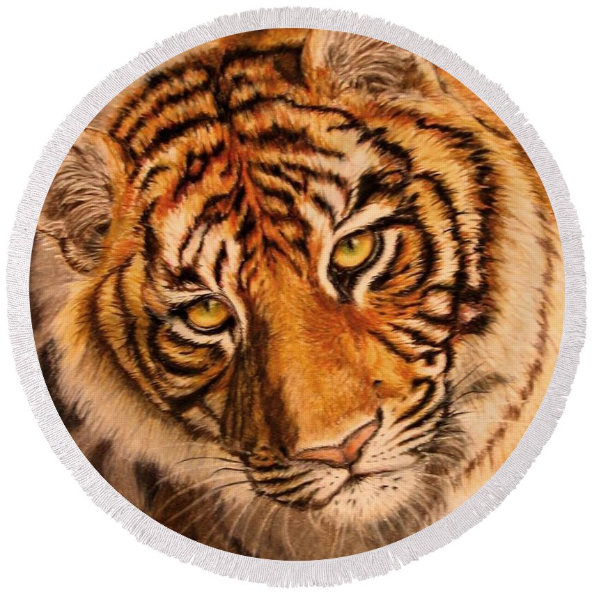 Tiger Round Beach Towel featuring the drawing Tiger by Karen Ilari