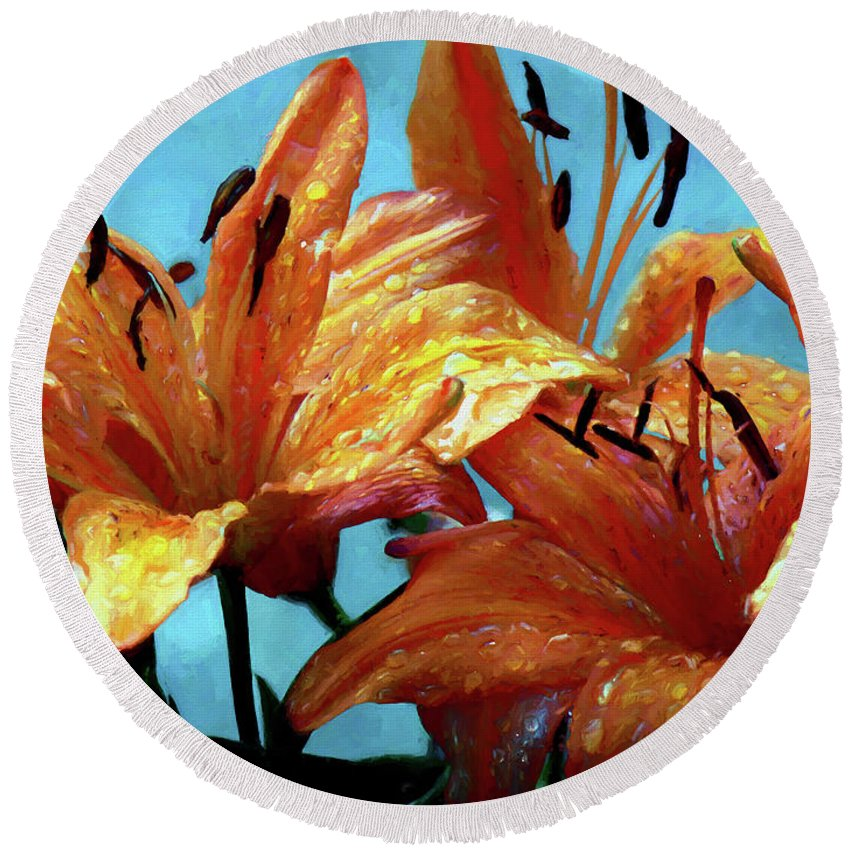 Flower Round Beach Towel featuring the painting Tiger Lilies After The Rain - Painted by Ericamaxine Price
