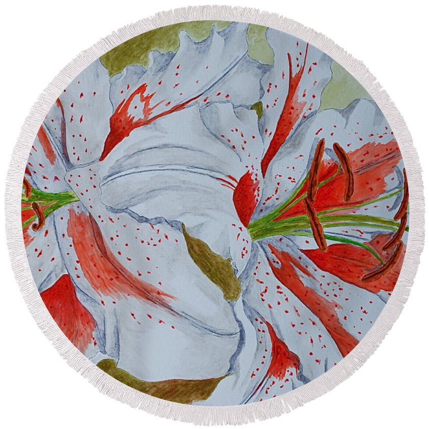Lilly Red Lilly Tiger Lilly Round Beach Towel featuring the painting Tiger Lilly by Herschel Fall