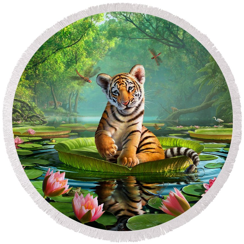 Tiger Round Beach Towel featuring the digital art Tiger Lily by Jerry LoFaro