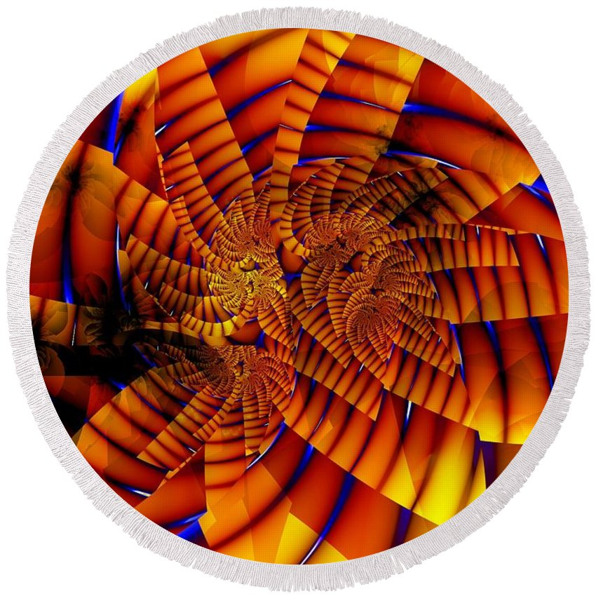 Flower Round Beach Towel featuring the digital art Tiger Lily by Ron Bissett