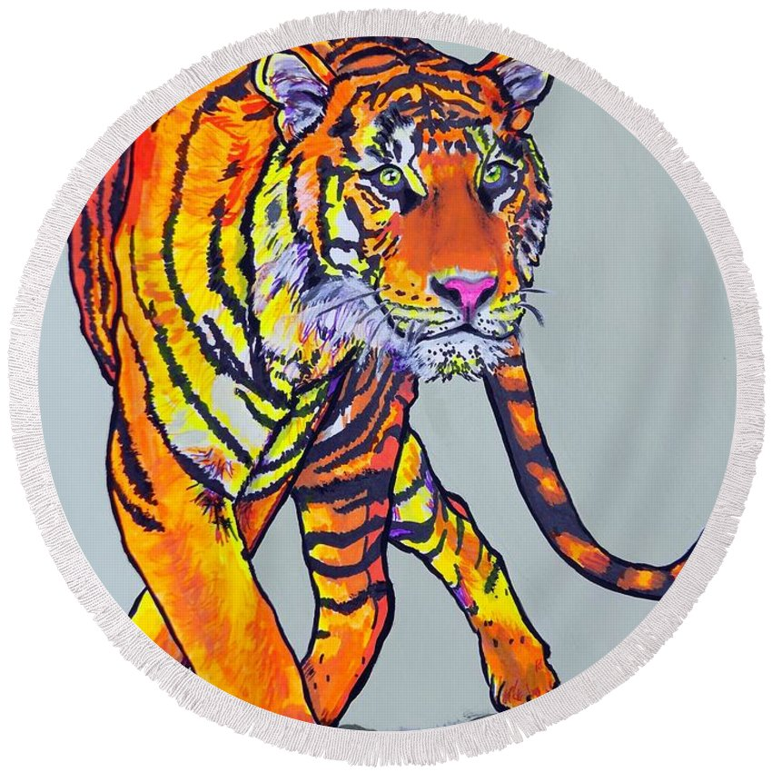 Tiger Round Beach Towel featuring the painting Tiger by Mary Sperling