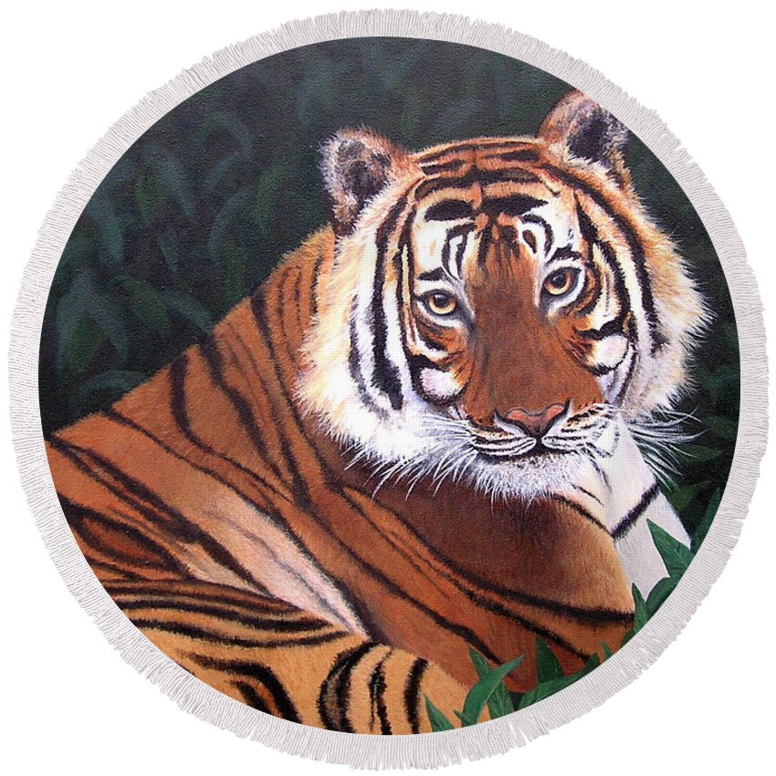 Tiger Round Beach Towel featuring the painting Tiger by Melissa Joyfully